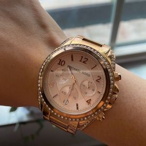 Michael Kors crystal bezel rose gold steel watch